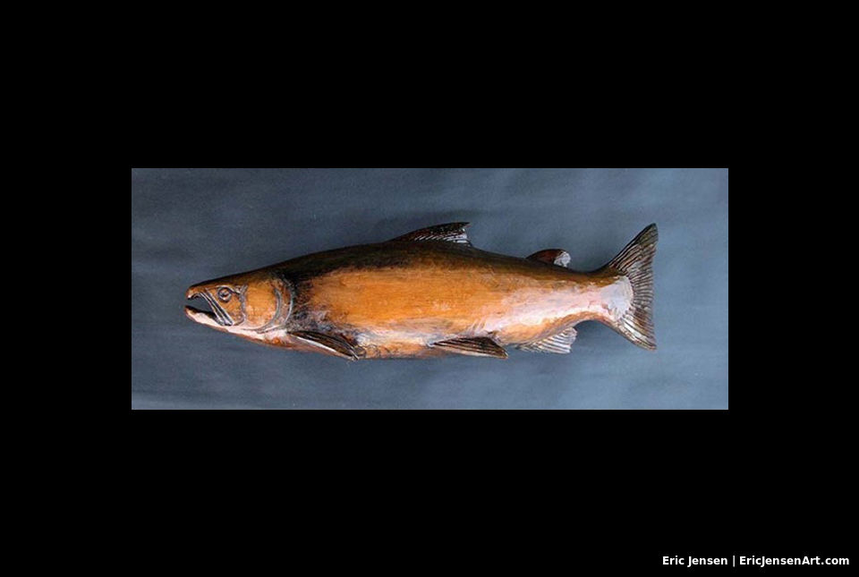Carved wooden Chinook salmon by Oregon artist Eric Jensen
