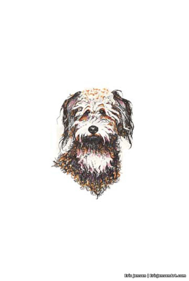 Hand drawn portrait of dog by Oregon artist Eric Jensen
