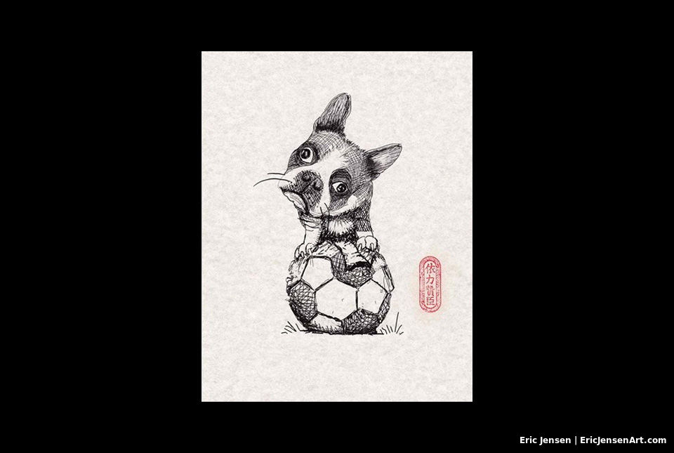 Portrait of French Bulldog playing with soccer ball by Oregon artist Eric Jensen