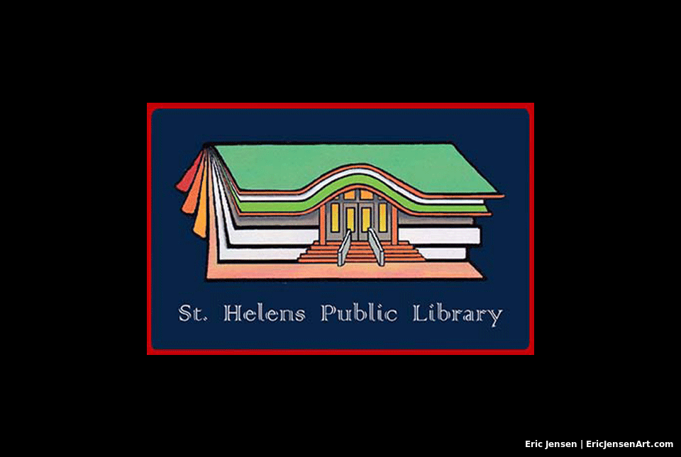 Library logo illustration by Oregon Artist Eric Jensen